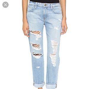 Frame Denim Le Grand Garcon Ripped Blue Jeans Sz27